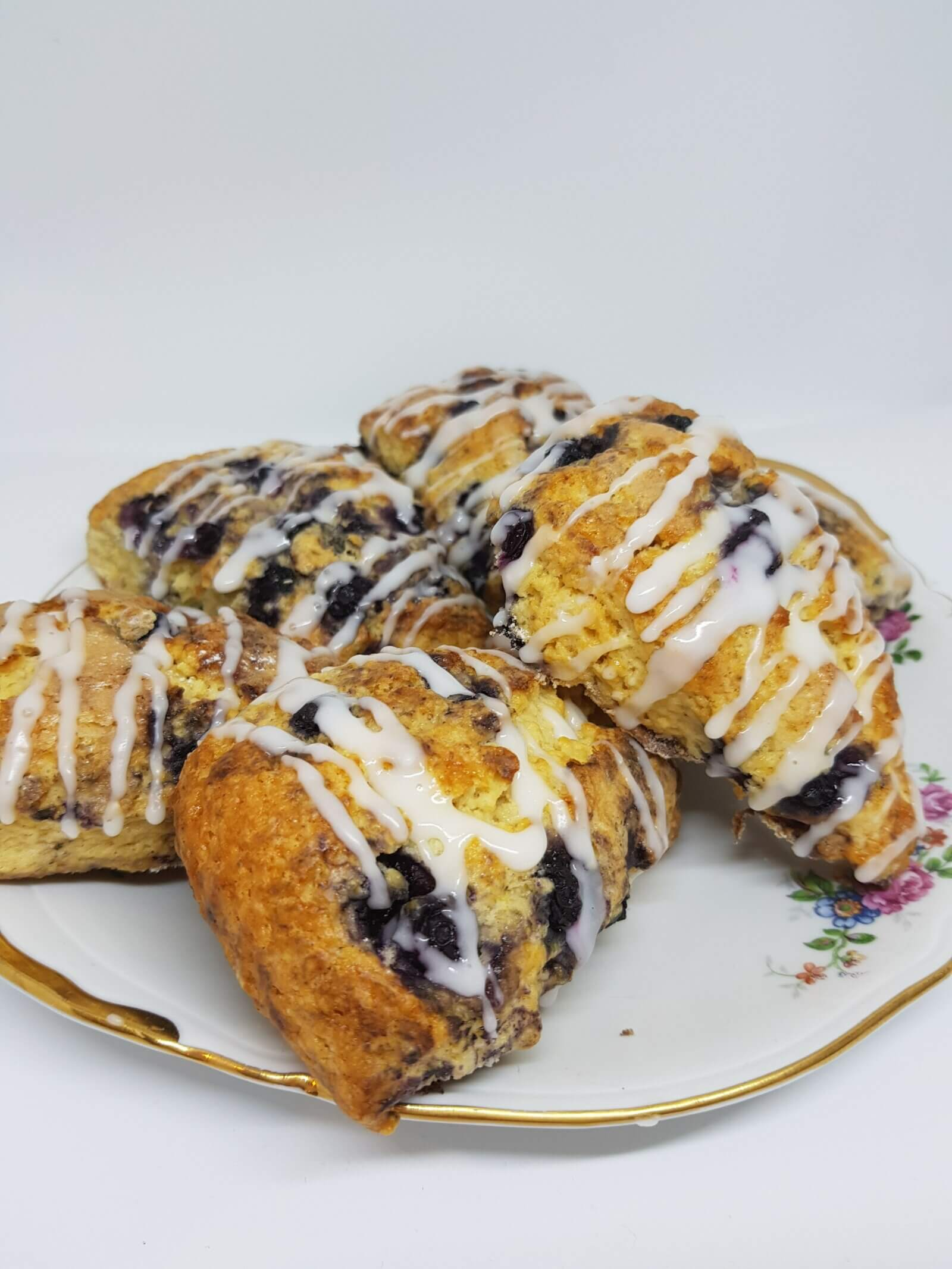 A plate of Lemon Blueberry Scones